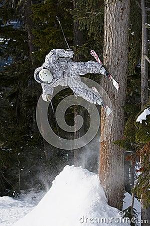 Skier stall on tree