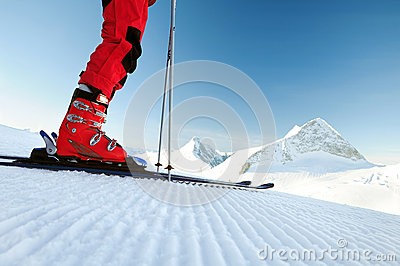Skier on an untouched ski track