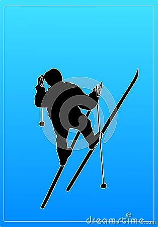 Skier Wearing Hat Silhouette