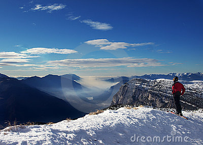 Skier and winter alpine