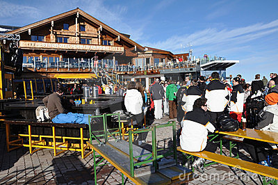 Skiers enjoying afterparty in Austria Editorial Stock Photo