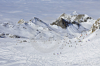 Skiers in Kitzsteinhorn ski resort, Austrian Alps