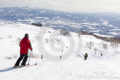 Skiers on Mount Niseko Annupri, Hokkaido, Japan Editorial Photography
