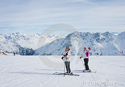 Skiers mountains