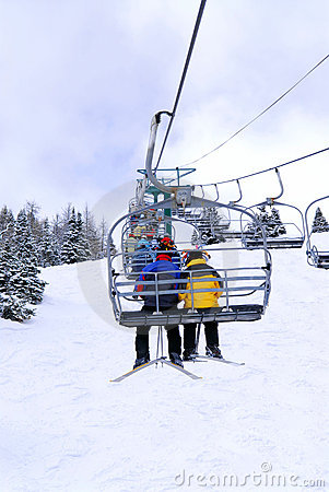Free Skiers On Chairlift Royalty Free Stock Photos - 2900788