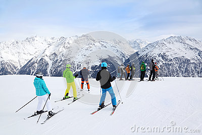 Skiers prepare for slope at winter