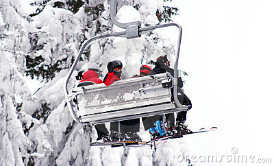 Skiers on ski-lift
