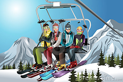 Skiers on the ski lift