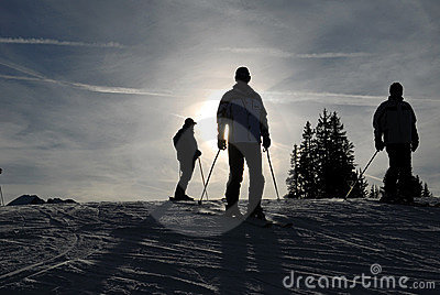Skiers on the slope