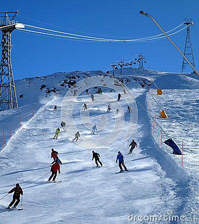 Skiers on slope