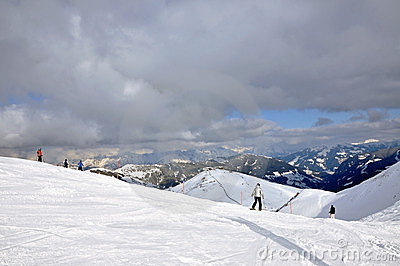 Skiers on the slope in Saalbach, Austria