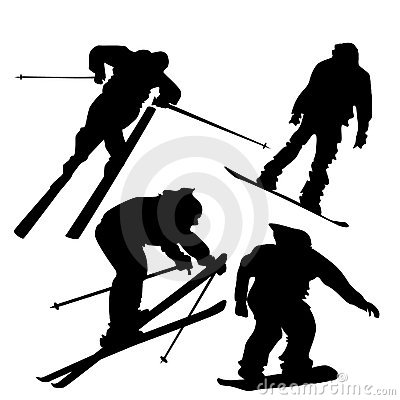 Skiers and snowboarders