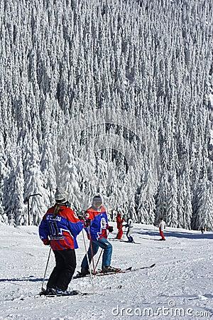 Skiers taking a break