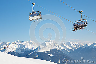 Skiers on Their Way to the Summit