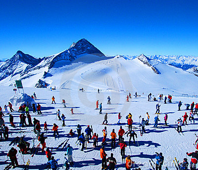 Skiers in winter