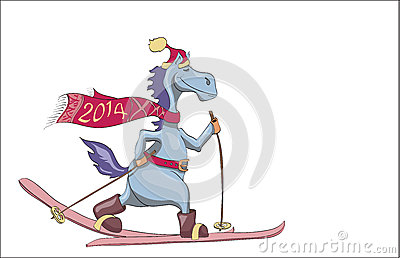 Skiing blue New Years horse. 2014