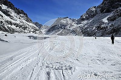 Skiing down the glacier