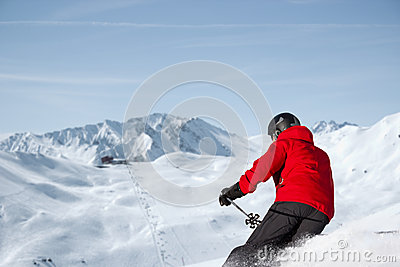 Skiing downhill panorama