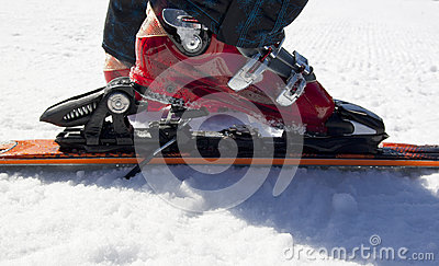 Skiing equipment on snow