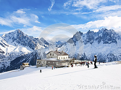 Skiing in French Alps in view of Chamonix Aguilles