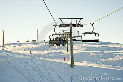 Skiing Lift Sun Over The Horizon Stock Photography - Image: 7995712