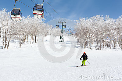 Skiing in Niseko Annupuri , Japan Editorial Stock Photo