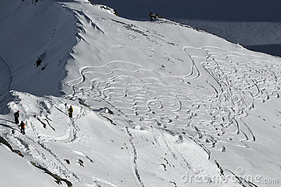Skiing off the ridge