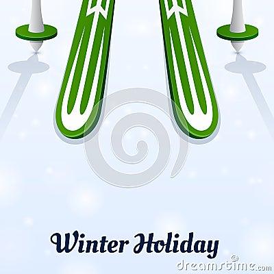 Skiing and ski poles on ice