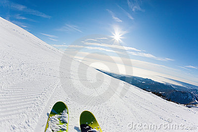 Skiing on a ski slope
