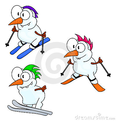 Free Skiing Snowmen Royalty Free Stock Image - 10883366