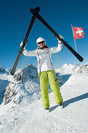 Skiing in Swiss Alps