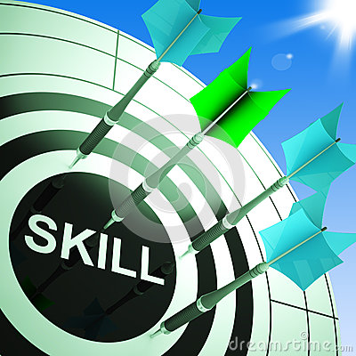 Skill On Dartboard Showing Expertise