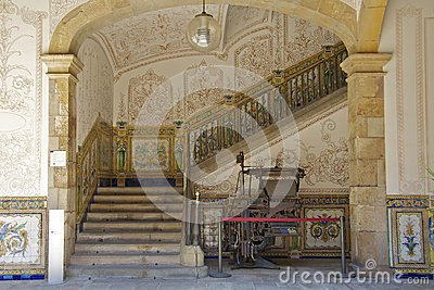 Skillfully painted staircase with mosaics