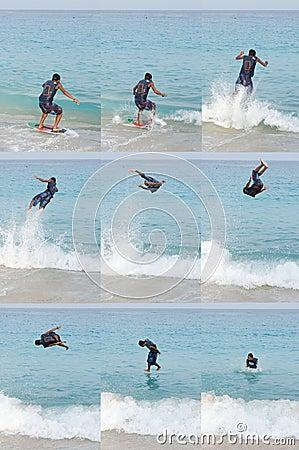 Skimboarding jump sequence