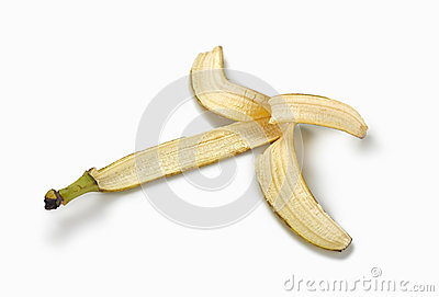 Skin banana on white background