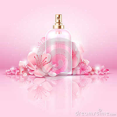 Free Skin Care Cosmetic Vector Concept. Cosmetic With Vitamin And Collagen In Bottle And Sakura Flowers Royalty Free Stock Image - 89791336