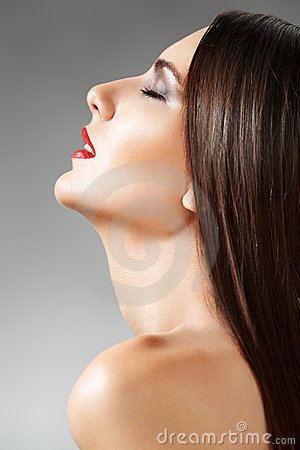 Skin care. Сosmetic. Woman with healthy long hair