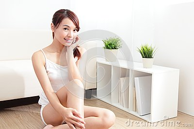 Skin care woman happy hand touch her face