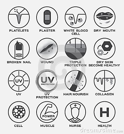 Free Skin Icon  / Platelets Plaster White Blood Cell Dry Mouth Broken Nail Wound Triple Protection Dry Healthy Uv Hair Nourish Co Royalty Free Stock Photos - 99609698