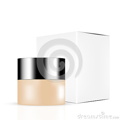 Skin toned beauty products/cosmetics bottles with silver lid and white gray box Vector Illustration