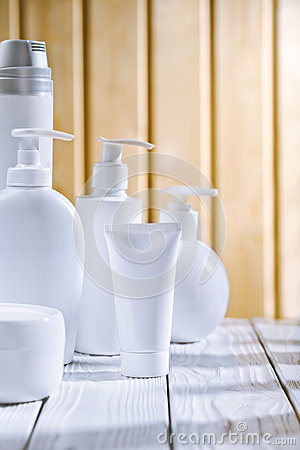 Skincare composition on the old white table