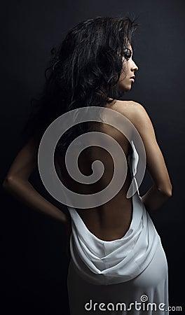 Skincare concept: back of beautiful nude woman