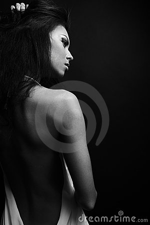 Skincare concept: back of beautiful nude woman