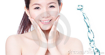 Skincare girl smile face with splash water