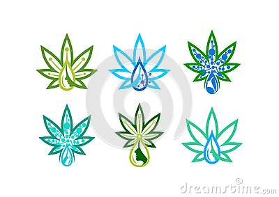Skincare logo. infusion marijuana, liquid herb symbol, canabis icon, beauty remedy, and extract leaf concept design Vector Illustration