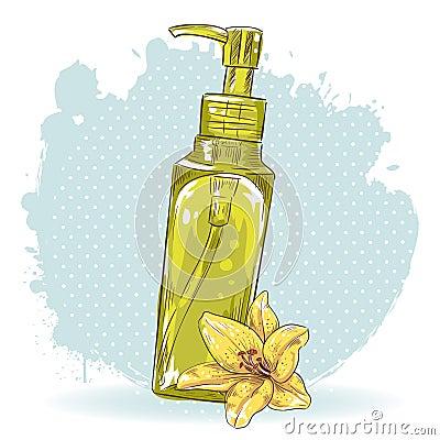Skincare make-up bottle isolated card