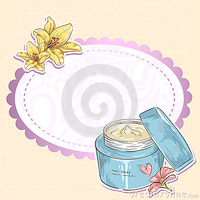 Skincare make-up cream jar  card