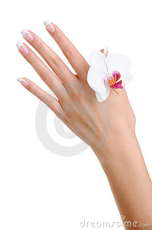 Skincare and purity of a female hand