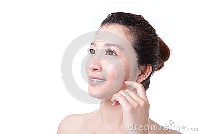 Skincare woman smile look to copy space
