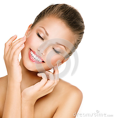 Free Skincare. Woman Smiling With Closed Eyes Royalty Free Stock Image - 43815546